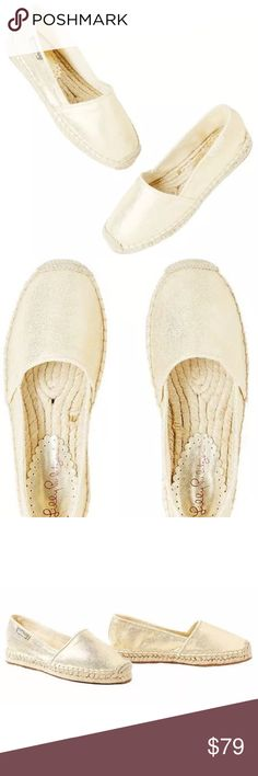 NEW Lilly Pultizer Lia Espadrille Metallic Gold 7M DESCRIPTION:  Brand new in box, never worn. Size 7. The Lia Espadrille is the ultimate close-toed shoe. This ultra comfortable canvas espadrille is gold foiled and has a rubber outsole.  FEATURES:  - Gold Foiled Canvas Espadrille With Jute Details And Rubber Outsole - Metallic Canvas Lilly Pulitzer Shoes Espadrilles