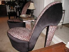 7c3ca33ab2be NEW LEOPARD HIGH HEEL SHOE CHAIR FURNITURE GIRL GIFT stiletto pump shoechair