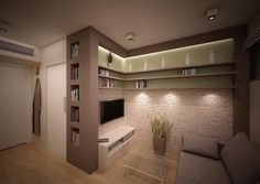 micro apartment in Wrocław (Poland) - lighting inspiration, storage not so much.