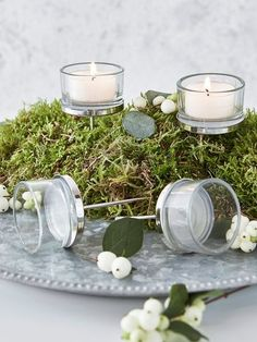 Floral Arrangement Tealight Holders #nordic #house #scandi #wedding #inspiration #floral #display #tealights