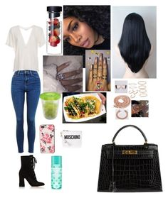 """""""Untitled #266"""" by faith-mula on Polyvore featuring Topshop, IRO, Kate Spade, Gianvito Rossi, Sabi, Hermès, Gerber and Moschino"""