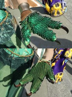 Scaled Dragon Hands (Gloves) uploaded in Scales: Three-fingered gloves made to look like dragon hands, complete with claws. Creative Costumes, Cool Costumes, Cosplay Costumes, Cosplay Ideas, Costume Ideas, Halloween Cosplay, Halloween Costumes, Dragon Claw, Dragon Tail