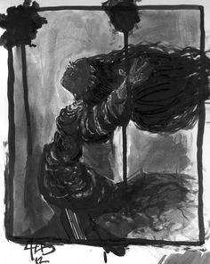 Agnes grunge shadow warmup.  Brush & ink, sharpie fine & ultra-fine on bristol.  comics