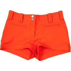 Pre-owned Versace Shorts ($110) ❤ liked on Polyvore featuring shorts, bottoms, orange, versace shorts, versace and orange shorts