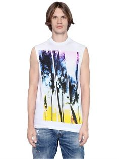 Dsquared2 - Twisted Cotton Jersey Sleeveless T-Shirt