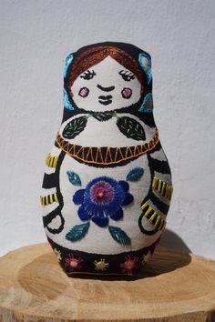 Lisa  mixed media printed and embroidered matryoska by Gineceo