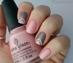 Nail Art Tutorial, Nail Designs, Nail Art How To, Pink V Stripes | NailIt! Magazine