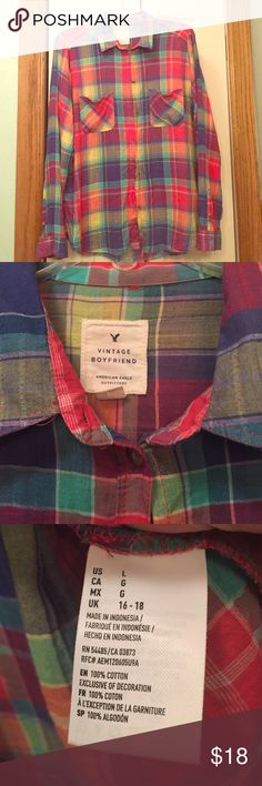 American Eagle boyfriend plaid button down American Eagle vintage boyfriend plaid button down size L. Very bright beautiful colors! TTS. Worn once! Last photo represents colors the best 😊 price firm unless bundled American Eagle Outfitters Tops Button Down Shirts