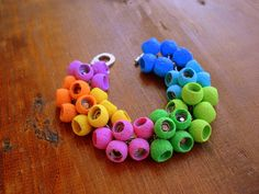 Polymer Clay Jewelry ,Cluster Rainbow Bracelet Charm Beaded Chain, Colorful Bracelet