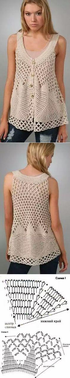 Crochet vest - would look elegant as a beach cover up. Crochet Jacket, Crochet Cardigan, Knit Or Crochet, Crochet Shawl, Crochet Stitches, Crochet Tops, Knit Patterns, Clothing Patterns, Crochet Woman