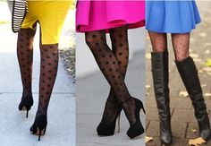 wear black patterned tights with bright skirt