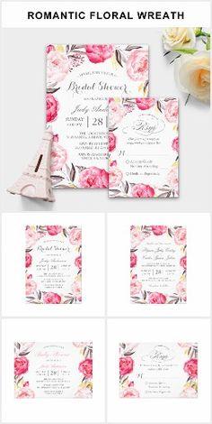 Wedding Invitation Suite: Romantic Floral Wreath #wedding