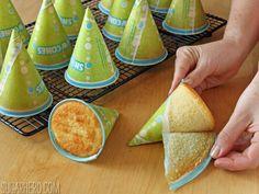 Birthday Party Hat Cakes   From SugarHero.com