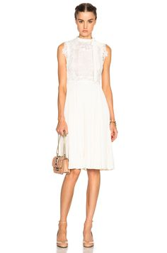 Image 1 of Valentino Sleeveless Dress with Macrame Top in White