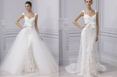 Lace and Tulle Sweetheart Neckline Ball Gown 2 in 1 Wedding Dress with Removable Wrap Skirt