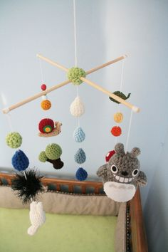 Crochet Totoro Nursery Mobile (Made-To-Order) Customizable. $77.00, via Etsy.