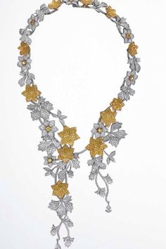 Necklace from the collection Jardin Secret in white and yellow diamonds on white gold by Georland