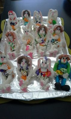 Mr. & Mrs. Peter Cottontail :)  I made them all out of fondant.