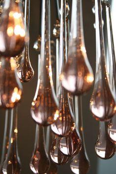 lágrimas cristal rosa.pink glass drops