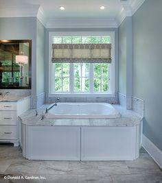 Soaking bathtub from The Carrera #1178. http://www.dongardner.com/house-plan/1178/the-carrera. #Bathroom #MasterBathroom #HomeDesign