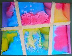 liquid watercolors, tape, and salt