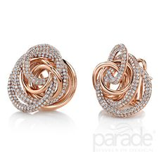 Parade Design E3246A. Pink gold and diamonds evoke the beauty of a rose in these stunning earrings.