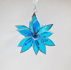 3D Stained Glass Blue Suncatcher. Flower. Flower от jacquiesummer