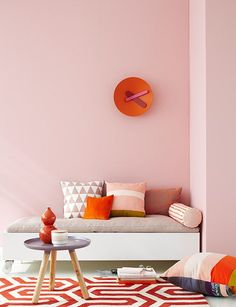 Scandinavian design is one of the most beautiful and elegant ways to decorate your home, and we absolutely love it. This is domino's ultimate guide to decorating your home with a Scandinavian design inspired interior. Living Room Color Schemes, Living Room Colors, Living Rooms, Deco Orange, Estilo Interior, Deco Rose, Piece A Vivre, Pink Room, Pink Walls