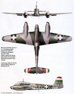 Messerschmitt Me 210 Hungarian Air Force, 1944 Ww2 Aircraft, Military Aircraft, Luftwaffe, Budapest, Aircraft Design, Aviation Art, Model Airplanes, Paint Schemes, Plastic Models