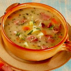 Hungarian potato soup with smoked pork knuckle Hungarian Recipes, Hungarian Food, Tasty, Yummy Food, Smoked Pork, Potato Soup, Food And Drink, Cooking Recipes, Favorite Recipes