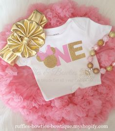 Glitz n Glam Babe - ONE - Minnie Mouse Bubble Gum Pink and Gold Birthday Onesie Princess First Birthday, Minnie Mouse First Birthday, First Birthday Shirts, Baby Girl First Birthday, First Birthday Outfits, Minnie Mouse Onesie, Minnie Mouse Pink, Minnie Mouse Party, Mickey Mouse