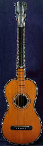 Early Musical Instruments, antique Romantic Guitar by Canga dated 1812