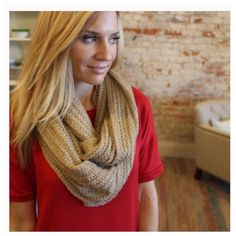 """Beige cable knit infinity scarf 100% acrylic 60"""" X 20"""" LT47703 Accessories Scarves & Wraps"""