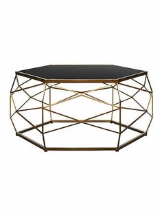 Glass Top Geometric Coffee Table Gold Black Home Decor Living Room Metal Frame Side Table Lamps, Glass Side Tables, Curved Tvs, Venetian Mirrors, Glass Shelves, Black Glass, Household Items, Modern Interior, Living Room Decor