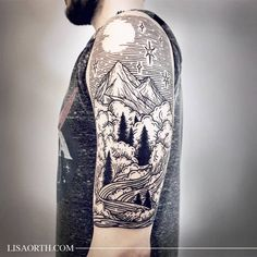 Piece commemorating his time spent in Colorado for Adam, thanks for traveling to get tattooed. Artwork and photo © 2016 Lisa Orth. Do Not Duplicate. Tattoo Artist: Lisa Orth