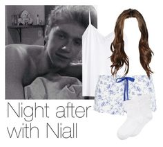 """""""REQUESTED: Night after with Niall"""" by style-with-one-direction ❤ liked on Polyvore featuring H&M, Heidi Klum Intimates, Hue, OneDirection, 1d, NiallHoran and niall horan one direction 1d"""