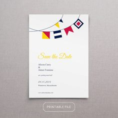 Printable Nautical Flag Save the Date by wickedbride on Etsy, $29.00
