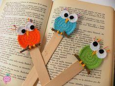 Three curios owls! - Handmade crochet bookmarks - Segnalibri al'uncinetto fatti a mano #crochet #owl #bookmark  Find more on www.rava-nello.com