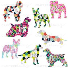 """Geometric Print Dog Decal with Monogram - 3"""" by MadeByCrafterHours on Etsy"""