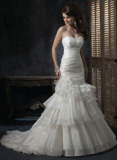 A-ligne sweetheart sans bretelles robe de mariée en organza - Robes de Mariage Boutique