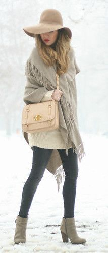 Cute Cold Weather Outfit - Neutral floppy hat, sweater dress & shawl, with black tights & booties