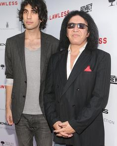"Nick Simmons and Gene Simmons arrive at the premiere of  ""Lawless"" in Hollywood."