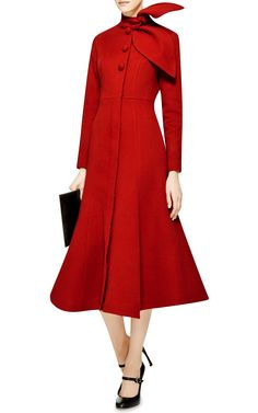 Cashmere Trumpet-Hem Coat by Vika Gazinskaya - Moda Operandi Wouldn't this be so chic to wear to the ceremony of a winter wedding? Red Trench Coat, Coats For Women, Clothes For Women, Vintage Mode, Coat Dress, Fashion Outfits, Womens Fashion, Nice Dresses, Ideias Fashion