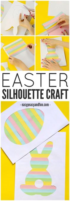 This Easter silhouette craft is a fun craft for kids. Use different colors of paper or washi tape! Perfect for making Easter cards. #learningcraftforkids