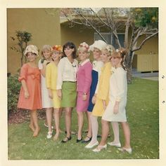This is how we REALLY dressed in the  late 1960's- shoes and all! These were the latest fashions. Most young women that wore hose had to wear a garter belt to hold them up- pantyhose didn't reach the U.S. until 1969.