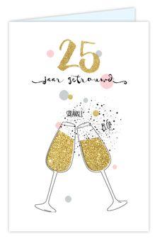Feestelijke uitnodiging 25 jaar getrouwd met glitterlook champagne glazen. Geheel zelf aan te passen. Gratis verzending in Nederland en België.