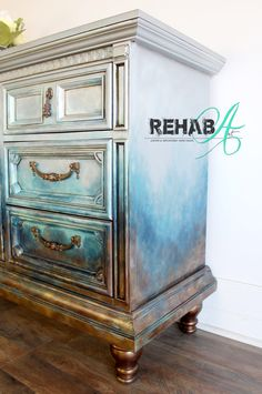 Shimmering silver, blue and bronze ombré abstract design hand-painted by artist Susan Tuthill at REHABArt.com Home Decor Store, Abstract Styles, Storage Drawers, Unique Home Decor, Credenza, Armoire, Home Accessories, Repurposed, Custom Design