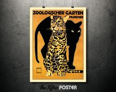 1912 Zoologischer Garten, Munchen by Ludwig Hohlwein - Vintage Poster or Canvas // High Quality Fine Art Reproduction Giclée Print by TheRetroPoster on Etsy