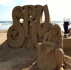 Sand carving of Stevie Ray Music Do, Art Music, Steve Ray Vaughan, Frank Stella, South Padre Island, Stevie Ray, Ice Sculptures, Sand Art, Blue Art