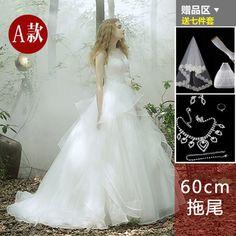 婚纱礼服2015新款韩式新娘一字肩婚纱长拖尾蕾丝花朵齐地大码冬季